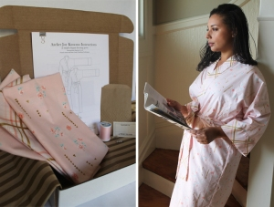 The Kimono Kit in Camille variation.  Featuring a pretty pink and gold floral and coordinating plaid trim.