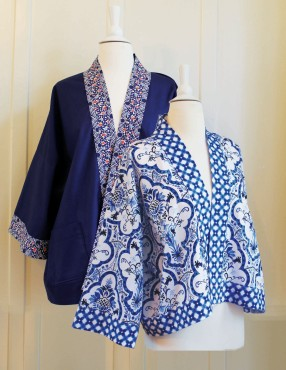 The Collage Kimono Jacket is adapted from our popular Kimono Robe. Features several styling options: short or long, optional contrast trim, patch pockets. 3/4-length sleeves and an open front.